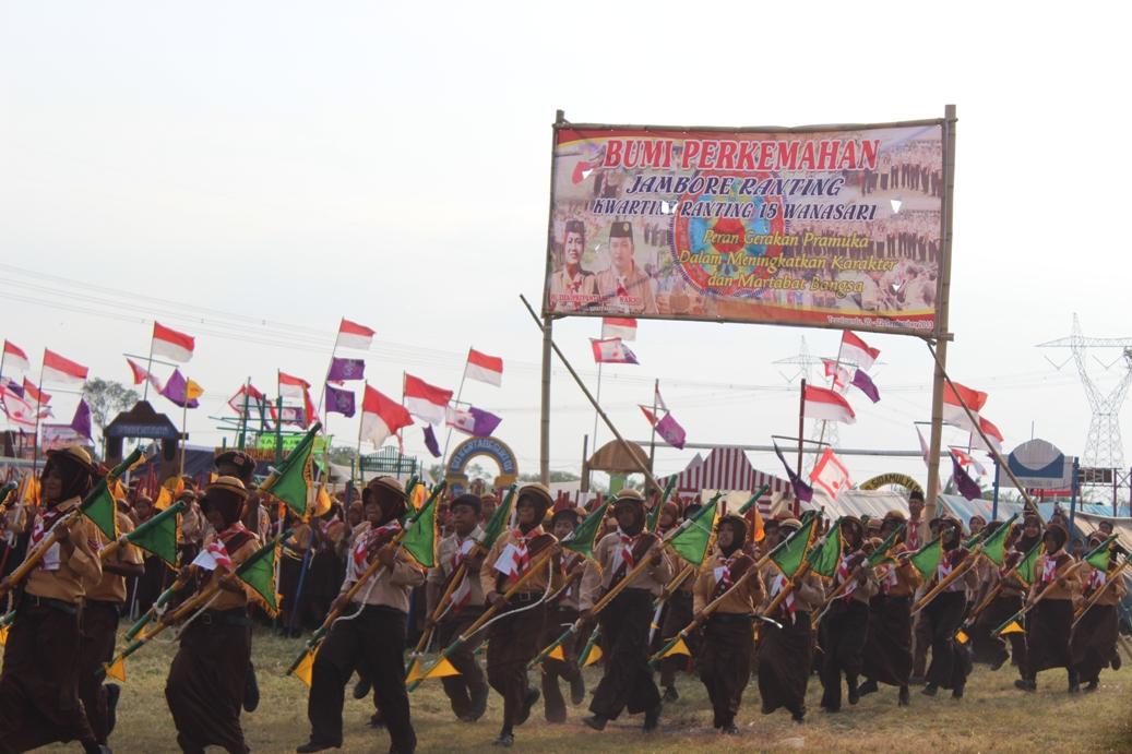 Satuan Penggalang gerakan Pramuka peserta Jambore Ranting (Jamran) tingkat Kwarran 15 Wanasari, Brebes